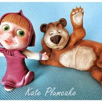 Masha And The Bear Mahsa and the bear fondant cake toppers.