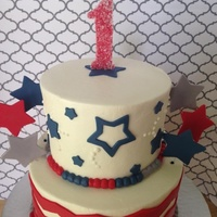 Patriotic Birthday Iced in buttercream, fondant decorations. Sanding sugar.