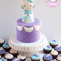 Princess Hello Kitty Cake And Cupcakes For my nieces 5th birthday, she wanted both Hello Kitty and Cinderella so I combined both themes into one design. Her party decor colors...
