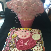 Pepa Pig Cake And Cookies I freehanded this cake and made cookies to match