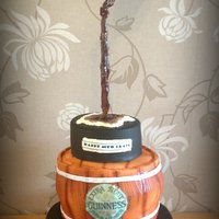 Guinness Barrel Gravity Defying Cake This was my first gravity cake. 3 tiered sponge cake with double height barrel tier.