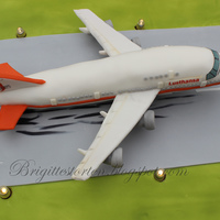 Boeing 747 Cake   A birthdaycake with a aeroplane, handmodelled