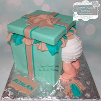 "Gift Box Baby Butt 8"" square cake iced in fondant with hand made fondant decorations. TFL!"