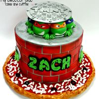 Turtle Power! Heroes in a half shell! Chocolate chip cake filled with hot fudge buttercream and covered in milk chocolate ganache. All decorations are...