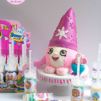 Snow Crush Shopkins Cake And Push Pops  For my daughters 8th birthday; a Shopkins fanatic! We made a 'Snow Crush Shopkins' by carving a 6 inch round by 6 inch high cake...