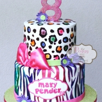 Neon Animal Print Cake Zebra is fondant, leopard is hand painted. All on buttercream.