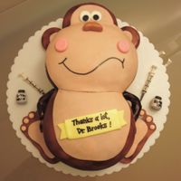 Monkey Birthday Cake White velvet butter cake with chocolate neoclassic buttercream and chocolate ganache. Decorated with fondant.