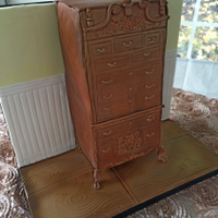 Highboy Grooms Cake The bride wanted to recreate a highboy that her groom had recreated out of wood. It is an amazing piece of furniture and I tried my best to...