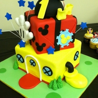 Mickey Mouse Clubhouse Happy First Birthday, Creek! The design was inspired by a cake done by @Cherylm29. Eggless Vanilla Cake with vanilla bc, covered and...