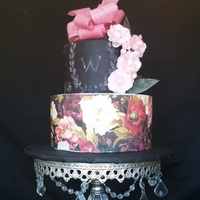 Wedding Cake   cover with edible wafer paper and fantasy wafer paper flowers