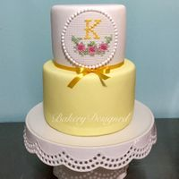 Cross Stitch Cake Special cake for a client done with her monogram all done in cross stitch tecnic.
