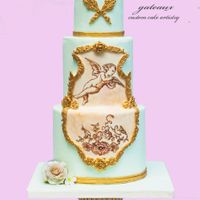 Rococo Cupid Cake This is a practice cake I did to work on my freehand painting skills. I was inspired by the Craftsy course I took with Alexandria...