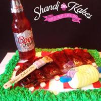 """smokin'"" Father's Day Cake Cake for my hubby for Father's Day, who is an avid griller and smoker. All edible except the actual cap and label on sugar bottle."