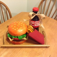 Hamburger And Fries Cake   Fondant covered cake with fondant fries the fry box is made of card stock paper the bottle is cake covered in buttercream and fondant