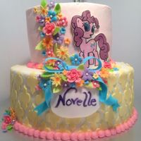 "Novelle Turns 5! My sweet little niece asked me for ""lots of flowers and colors and My Little Pony"" for her cake. She loved every picture I showed..."