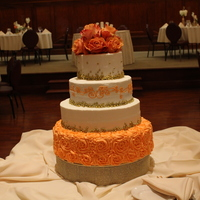 Coral And Gold Wedding Cake 4 Tiered Coral and Gold Wedding Cake