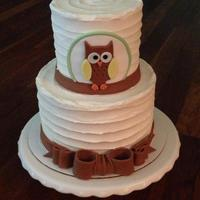 Owl Baby Shower Cake Fun little owl themed baby shower cake - vanilla cake, covered in vanilla buttercream frosting with fondant details/accents.
