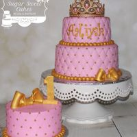 "Gold Princess 6"" & 8"" cakes with matching 6"" smash cake, iced in fondant w/hand painted gold fondant decorations. TFL!"