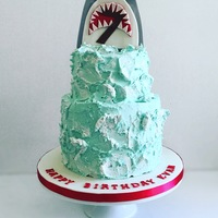 Buttercream Shark Cake Shark cake for a 7 yr old's birthday. The cake is buttercream and after it firmed up in the fridge I went back and painted the white...