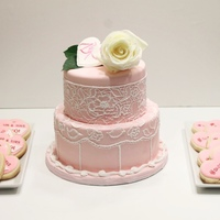 Pretty In Pink Vanilla Sponge with Strawberry Cream Cheese Frosting & Personalized Sugar Cookies