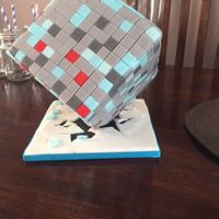 Minecraft Cake for my little boy who is obsessed with minecraft