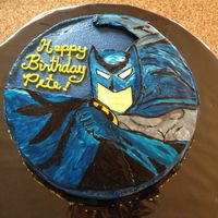 Hand Painted Batman Cake OK, I must first say that before cakes, I had the artistic talent of a preschooler...Hmm...nope. I think preschoolers still drew better...