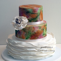 Modern Abstract Cake My first try at a modern abstract hand painted design. I wanted the cake to be romantic, but lively and modern at the same time.