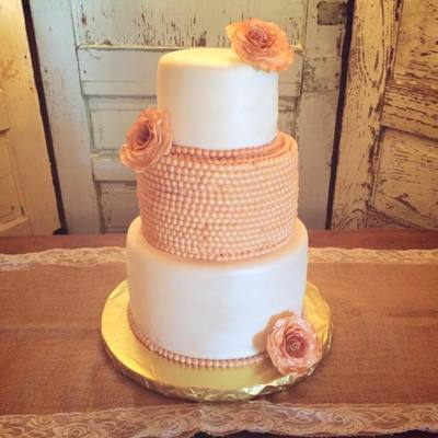 Shabby Chic Rose And Pearl Wedding Cake