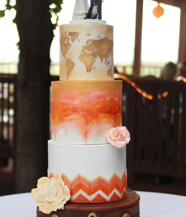 Travel Theme Wedding Cake