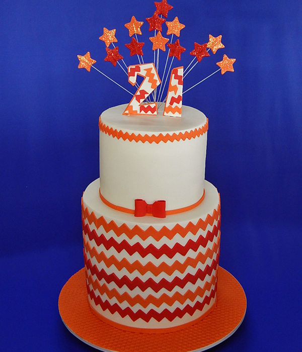 Chevron 21St Birthday Cake