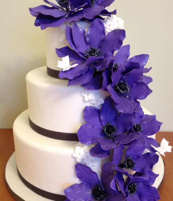 Purple Anemone Wedding Cake