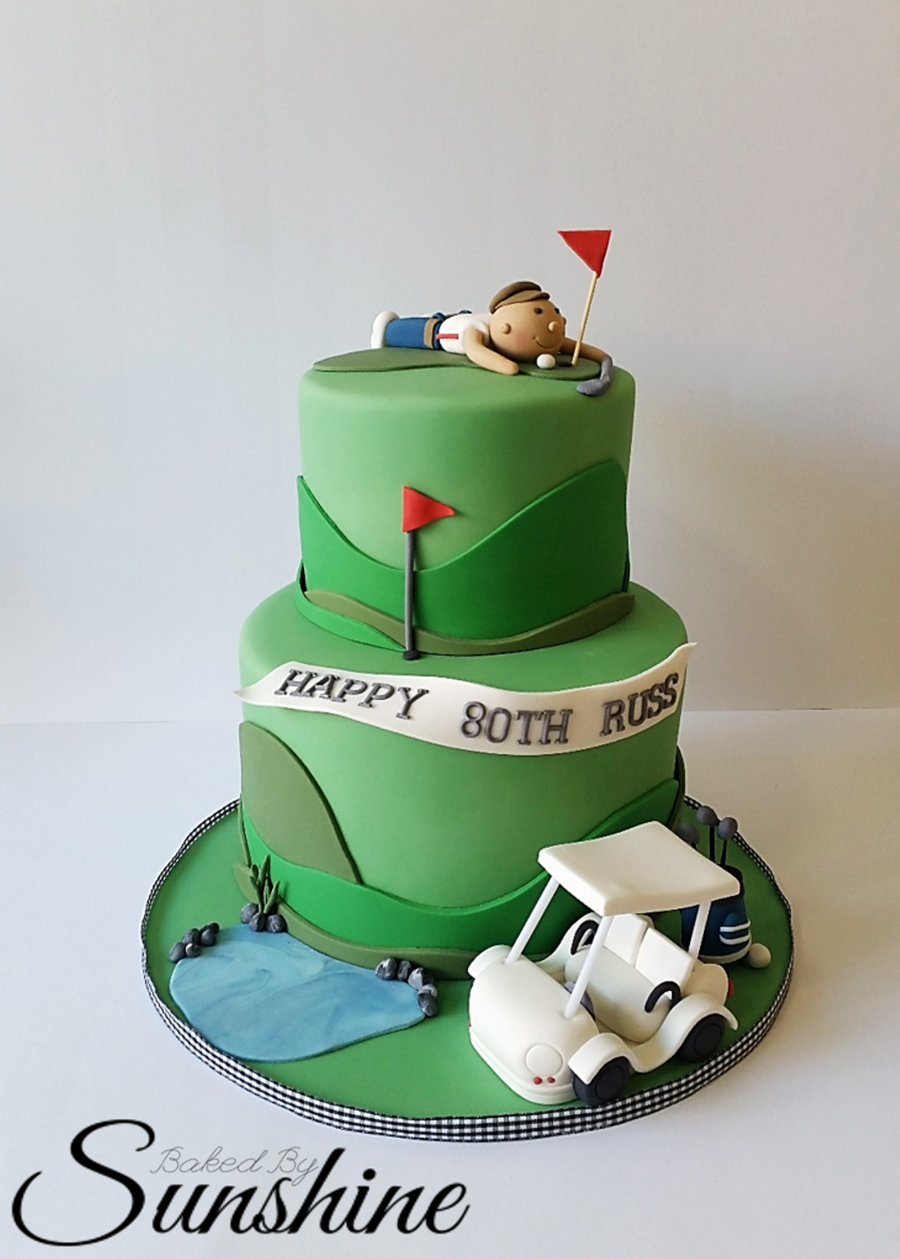 Surprise Golf Themed Cake For An 80Th Birthday CakeCentralcom