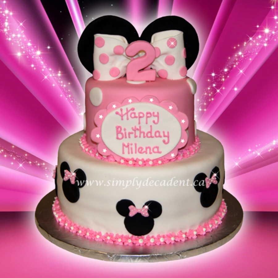 Tier Fondant Disney Minnie Mouse Birthday Cake with Fondant Minnie ...