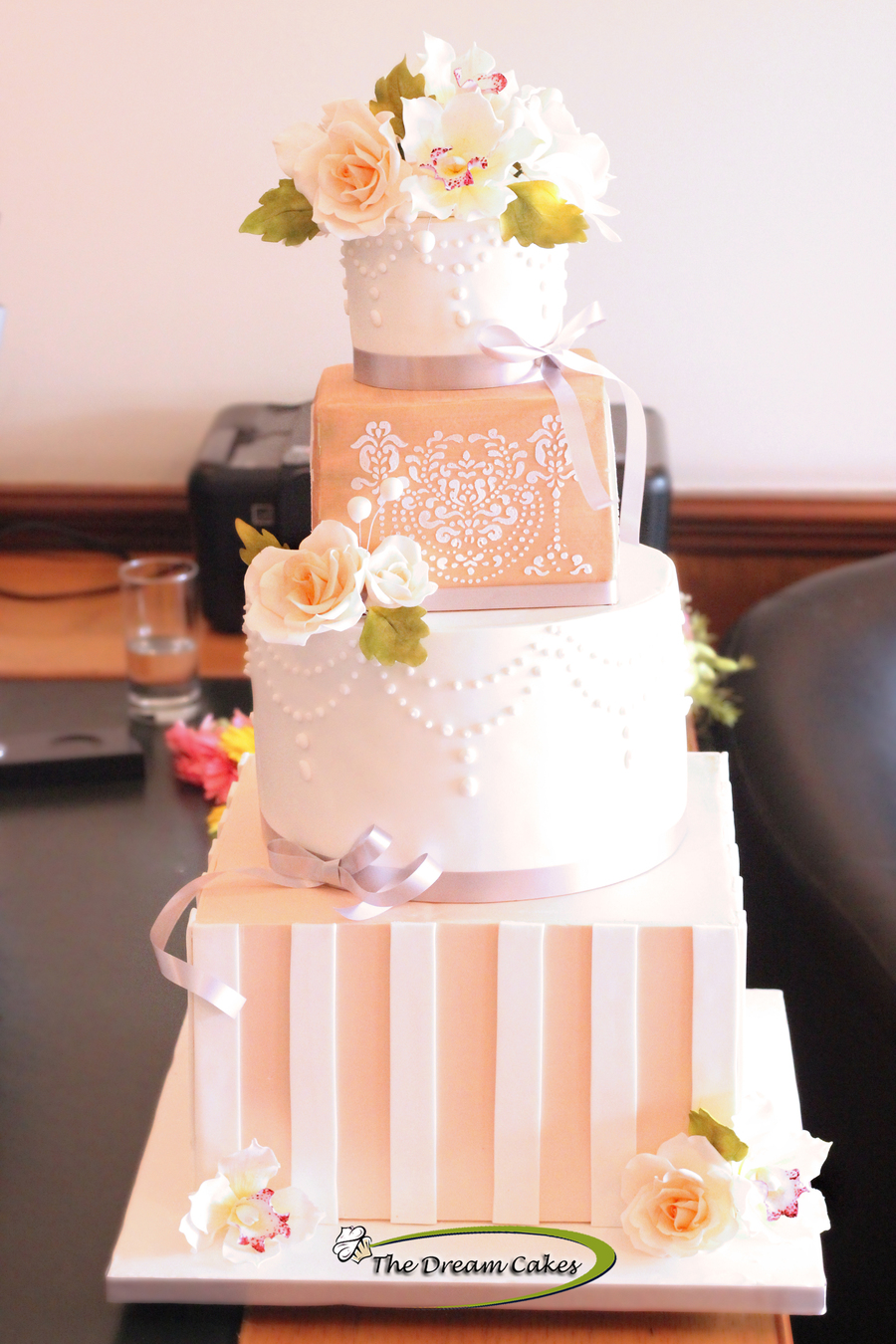 white peach and gold wedding cake blush wedding cake cakecentral 27306
