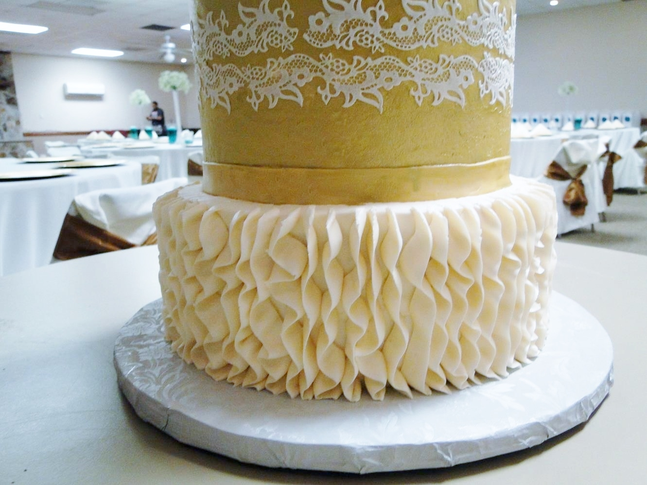 Ivory And Gold Wedding Cake Ruffles Lace Metallic Peonies