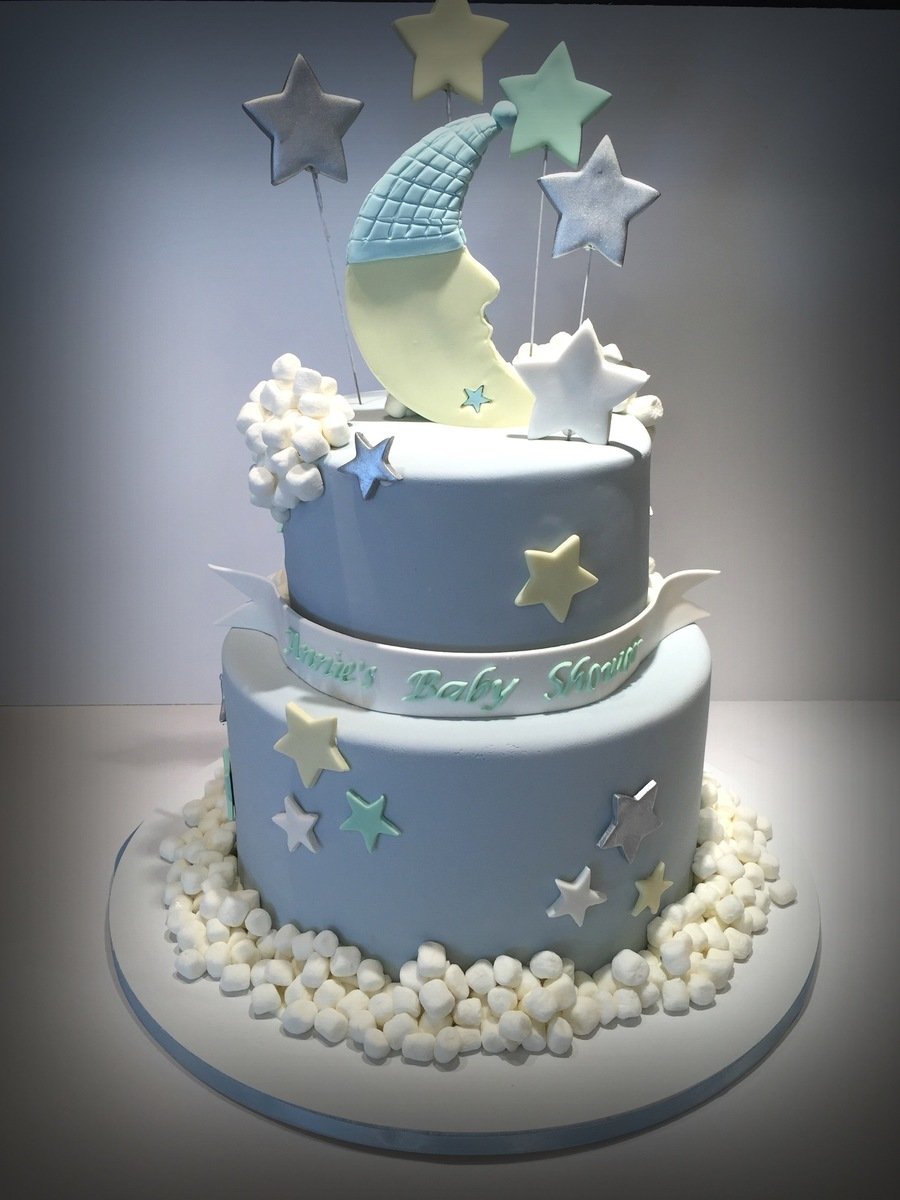 stars and moon baby shower cake