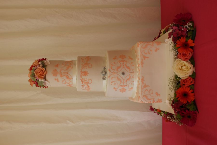 Coral Wedding Cake on Cake Central