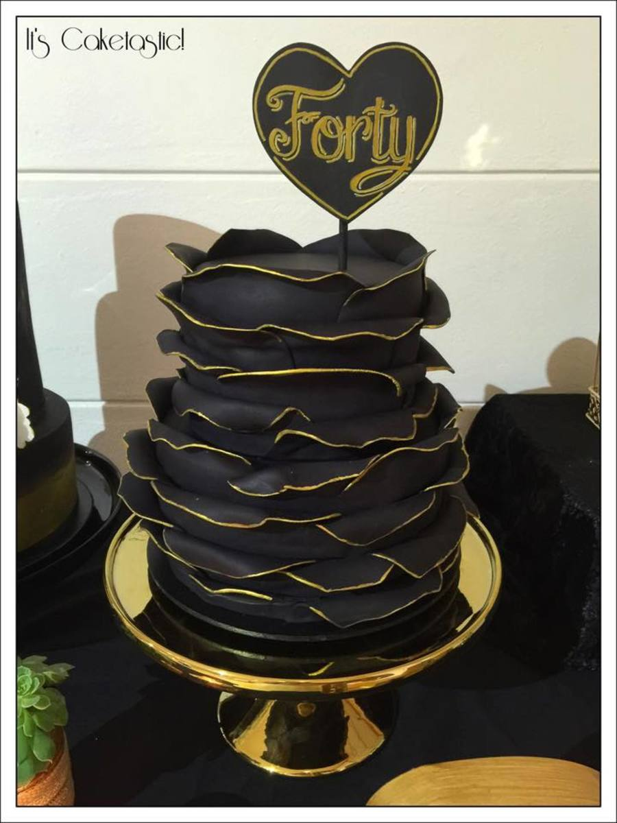 Gold And Black Birthday Cake Cakecentral