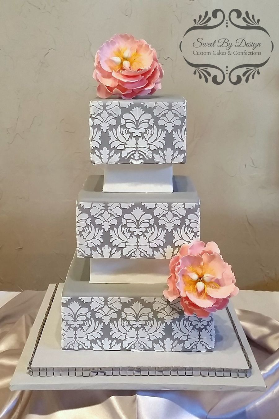 Gray Damask Wedding Cake Cakecentral Com