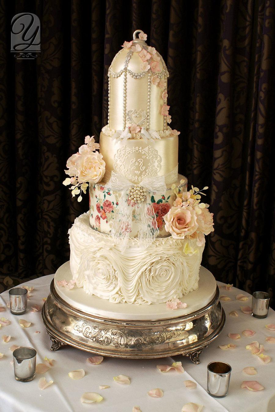 White Birdcage Wedding Cake Cakecentral Com