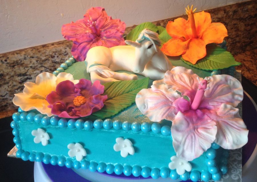 Unicorn And Hibiscus Cake on Cake Central