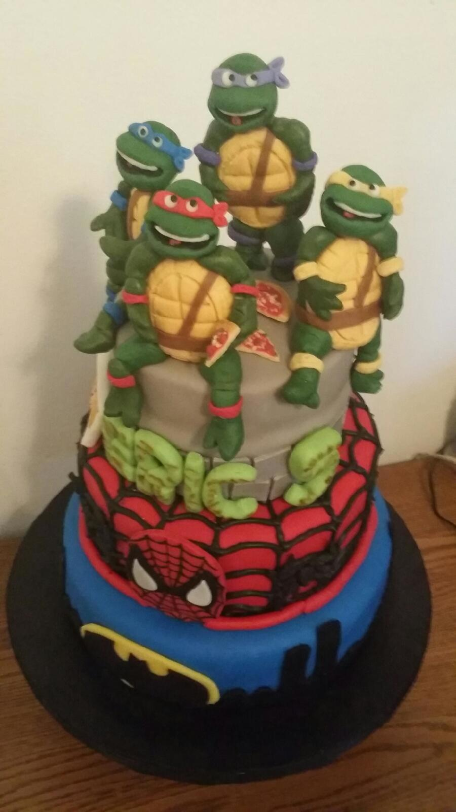Superhero Cake With Ninja Turtles Spiderman And Batman