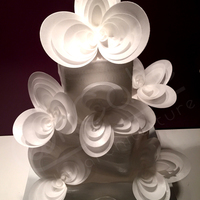"Space Cake 3 tiers square, covered with fondant and after with waferpaper.the geometric ""flowers"" they are also made ​&..."