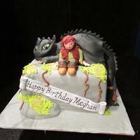 How To Train Your Dragon Birthday cake. Dragon is cake covered in fondant.