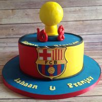 Football Cake... Barcelona FC cake for two brothers...