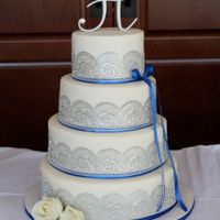Blue & Silver Wedding Cake Lace made of Sugar Dress Confectionary Lace Mix