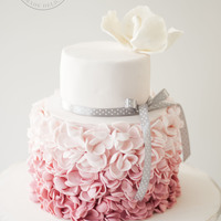 Blush Petal Ruffles An ombre pink petal ruffle cake for a birthday celebration.