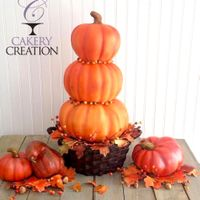 3D Basket Of Stacked Pumpkins Cake   3D basket of stacked pumpkins autumn cake