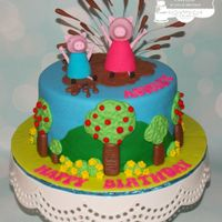 "Peppa Pig 8"" cake iced in fondant with hand made fondant decorations. TFL!"