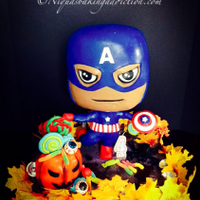 Halloween Captain America Chibi Cake Created this Captain America Chibi Cake for my son's 4th birthday!! It's him in his Halloween Costume. The cake has...